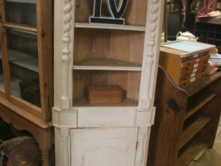 Cream Painted Pine Corner Cupboard / £180