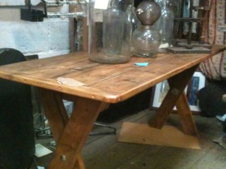Made table reclamied pine