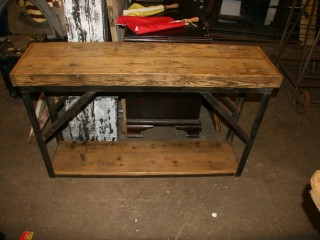 Industrial Work Bench with Reclaimed Pine Shelf & Top / £140